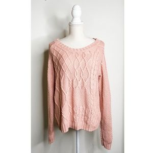 Target Mossimo Pink Cable Knit Sweater